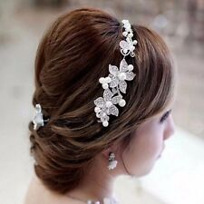 WEDDING BRIDAL PROM ACCESSORIES CRYSTAL RHINESTONE FLOWER HAIR SLIDE COMB TIARA