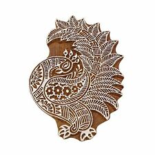 Indian Wooden Textile Stamps Peacock Border Stamp Brown Textile Printing Block