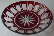 """ELEGANT VINTAGE RUBY RED CUT TO CLEAR CRYSTAL CANDY OR NUT DISH 5-1/4"""" D"""