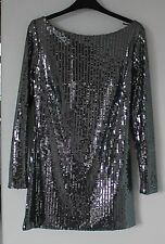 Fabulous Stylish Silver Sequin Fully Lined Top or Mini Dress Size M Worn Once