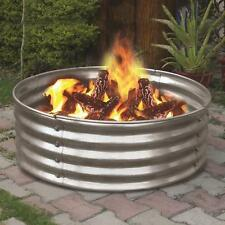 "36"" Portable Galvanized Metal Round Fire Pit Ring Can Backyard Camping Firepit"