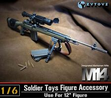 "1:6 ZY Toys Designated Marksman Sniper Rifle M14 ZY-8029 ABS Model F 12"" Figure"