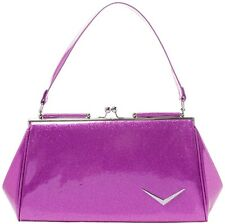 Lux de Ville Getaway Kiss Lock Purse Handbag in Violet Sparkle Pin Up Hot Rod