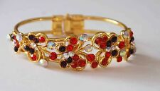 5 Red & Purple Crystal Butterfly Cuff Bangle Bracelet / Gold-tone