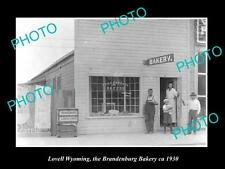 OLD LARGE HISTORIC PHOTO OF LOVELL WYOMING, THE BRANDENBURG BAKERY STORE c1930