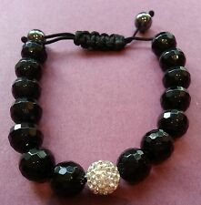 Black Agate and One White Crystal Bracelet 10mm