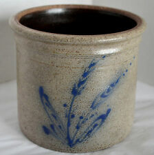 "Red Wing Pottery 5"" Crock Brown Salt Glazed Blue Floral Planter Pot Connolly USA"