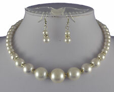 CREAM GLASS  PEARL & RHINESTONE GRADUATED CHOKER WITH  EARRINGS