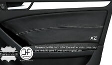 GREY STICH 2X FRONT DOOR CARD TRIM LEATHER COVER FITS AUDI A5 SPORTBACK 4 DOOR