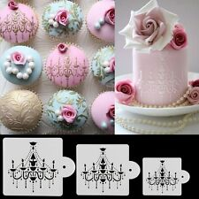 3pcs Chandelier Stencil Cake Sugarcraft Cupcake Lace Border Decorating Tools
