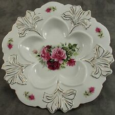 LIMOGES CHINA FLORAL ROSE PORCELAIN OYSTER PLATE WITH GOLD TRIM