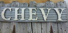 "45"" CORRUGATED INDUSTRIAL METAL CHEVY SIGN truck rustic cabin man cave garage"