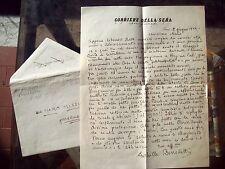 1944 LETTERA AUTOGRAFA GIORNALISTA ACHILLE BENEDETTI INCARCERATO DA NAZIFASCISTI
