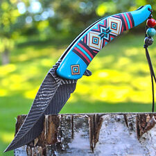 "8.5"" Native American Indian Spring Assisted Open Pocket Knife Damascus Feather"