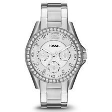 Fossil ES3202 New Original * RILEY Silver Crystals Multi function* Women's Watch