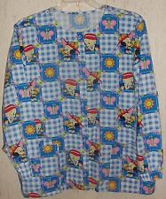 WOMENS Baby Popeye & Baby Olive Oyl GINGHAM CHECK SCRUBS TOP  SIZE L*
