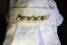Dressage/hunt seat pearl and rhinestone accent  stock pin with FREE shipping!