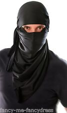 Mens Black Japanese Ninja Hood Fancy Dress Party Costume Outfit Accessory