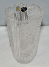 """Bohemia 24% Lead Crystal Vase - Decorated with Fruit - 6 1/2"""" Tall - VGC"""