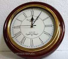 Vintage Antique Brass & Wooden 12 inch Wall Clock