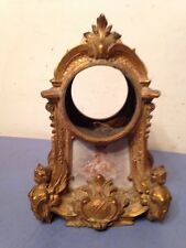 Beautiful Antique French Mantle Clock Case Hand Painted Porcelain Cherubs Ornate
