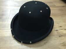 Bowler Hat Punk Steam Punk Black 2016 New In Studded 100% Wool Man Lady Hats