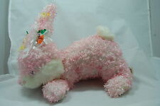 """Easter Bunny Rabbit Pink White Curly Cottontail Carrot Bow Walmart Plush 16"""" Toy"""