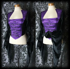 Gothic Black Velvet Purple Text RAVEN Huge Sleeve Corset Top 10 12 Victorian BN