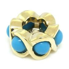 Cheeky Turquoise 9ct 9K Solid Gold Bead Charm FITS EURO BRACELETS 30 Day Returns