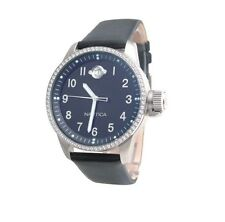 NAUTICA  SILVER TONE,BLACK LEATHER,PRISM BLUE DIAL,CRYSTAL BEZEL WATCH A20004L