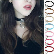 1PC Green Lady Punk Rock Double O Ring Leather Collar Necklace Dark Harajuku