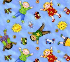 SPX FABRICS YOU ARE MY SUNSHINE CHILDREN AND TOYS ON BLUE COTTON FABRIC BTY