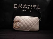 Authentic CHANEL Small Cambon Line Bag White / Python (Snakeskin)Leather L 8.4""