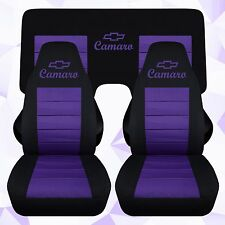 Front and Rear Chevy Camaro Coupe Black and Purple Seat Covers 2010-2015 ABF