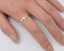 Silver Tiny Cross Ring Sterling Silver 925 Plain Best Deal Jewelry Gift Size 8