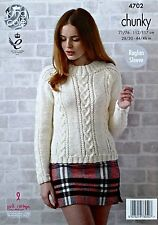 KNITTING PATTERN Ladies Long Sleeve Cable Panel Jumper Chunky KingCole 4702