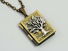 Silver Tree of Life Picture Photo locket necklace personalized Antique L081