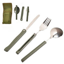 3 Outdoor Portable Folding Stainless Steel Fork Spoon Knife Cutlery Set Hot Sale