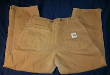 CARHARTT B10BRN BROWN CANVAS DUCK QUILTED LINED WORK PANTS MEN'S 36X28