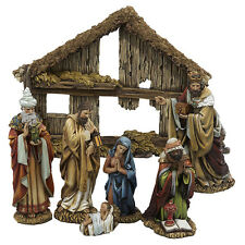 "KURT ADLER 6"" 7 PIECE HAND PAINTED RESIN NATIVITY SET 6 FIGURES w/STABLE"