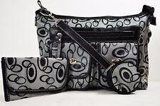 New Women Black 3 PIECE Set Jacquard Satchel Tote Fashion Handbag Snap Pocket