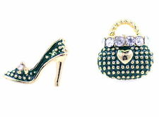 Pretty mismatched bag and high heel shoe earrings with crystal multiple choices