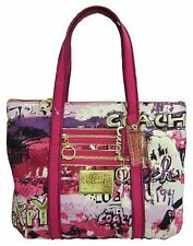 "Authentic ""Rare"" Coach Poppy Raspberry Script Wall Graffiti Glam Tote 14987"