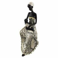 Silver and Black African Masai Snakeskin Effect Figurine Gift Statue 23cm 68953