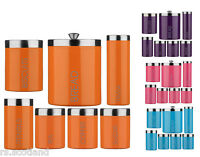 Colour Enamel Storage Canisters Set Tea Coffee Sugar Biscuits Jars Bread Bin New