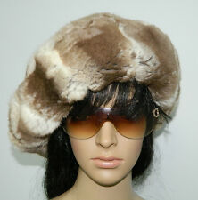 GENUINE CARAMEL CHINCHILLA FUR HAT BONNET HUGE BERET One size