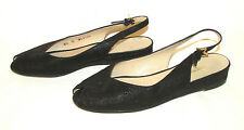 BRUNO MAGLI Italy Textured Nubuck Suede Peep Toe Wedges Shoes Sandals Flats 6.5