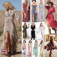 UK Boho Womens Hippie Dress Ladies Party Evening Summer Beach Long Maxi Sundress