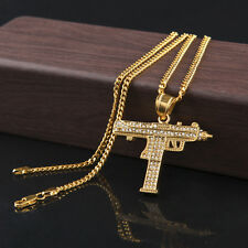 Gold Plated CZ Iced Out Submachine Gun Pendant Hip Hop Necklace Army Jewelry