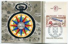 CARTE RALLYE PHILATEC ST JULIEN EN GENEVOIS  PARIS 1964 AVEC VIGNETTE